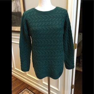 Talbots emerald green merino wool sweater